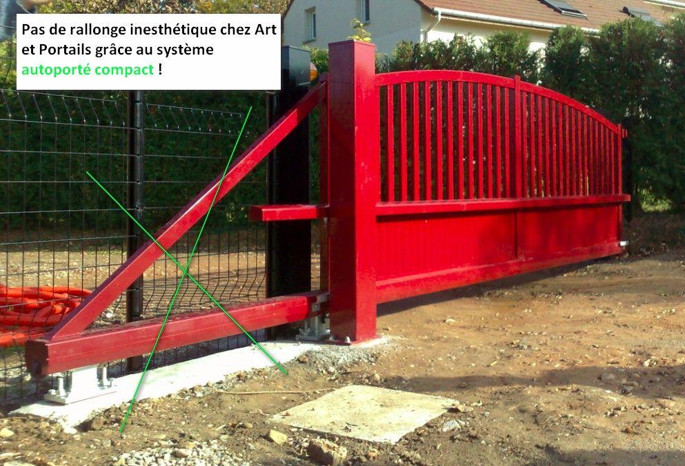 Portail coulissant autoportant sans rail au sol - Rail de portail coulissant ...